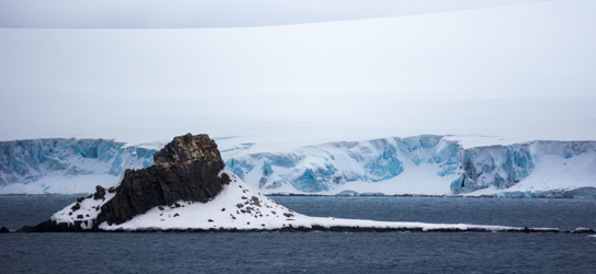 Immense walls of ice cover the islands of the Antarctic Peninsula