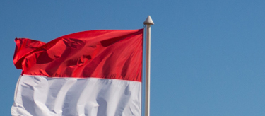 National flag of Monaco flys over the harbour