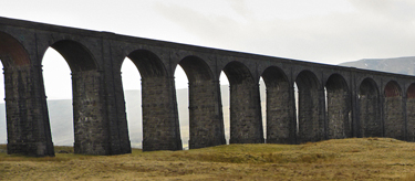 Wide-angle shot of Ribblehead Viaduct
