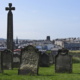View of the West cliff with the graveyard of St Mary's visible in the foreground