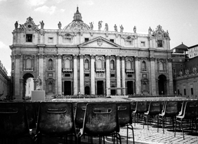 Black and white edit of St Peter's Basilica, Rome