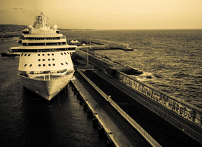 Cruise ship docked in Civitavecchia harbour, Italy