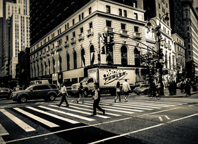 The streets of New York with a typical road crossing