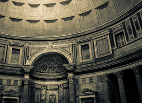 Interior of the Pantheon, split tone edit to accentuate the light and shadows
