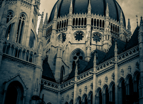 A split tone of the Parliament building in Hungary
