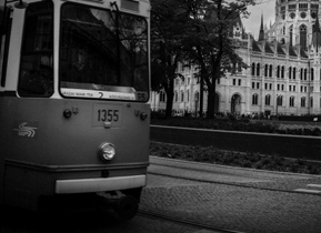 Tram No. 2 passes the Hungarian Parliament in Budapest