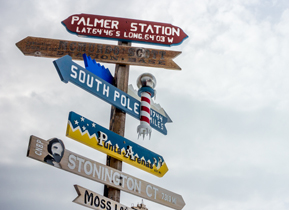 Signpost at the Palmer Station on Anvers Island
