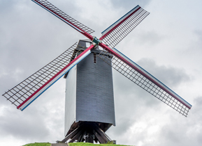 A refurbished windmill stands proud in Bruges
