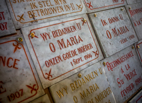 Memorial plaques inside the Church of our Lady Bruges