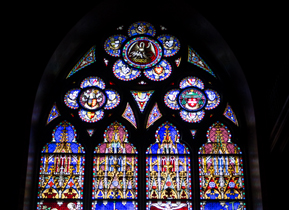 Stained glass window in the Basilica of the Holy Blood, Bruges