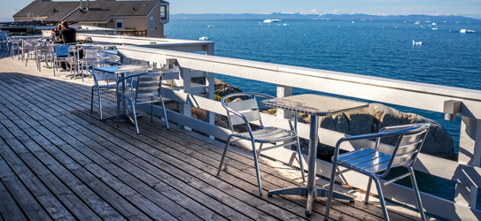 Outdoor terrace overlooking the Icefiord