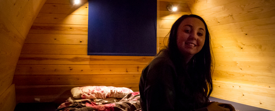 Lauren settling into the cabin
