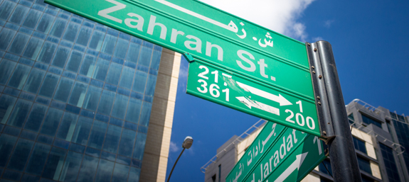 A traditional sign-post at a crossroad in downtown Amman