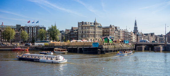 The first glimpse of Amsterdam as I exited the Centraal Train Station, looking across to the canals