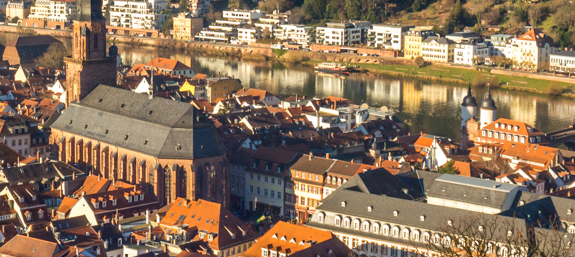 The old centre of Heidelberg as seen from the castle
