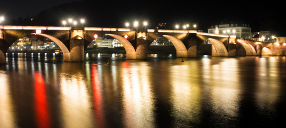 The famous Alte Brucke bridge lit up at night