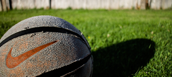 A old basketball that's been left outside a little too long!