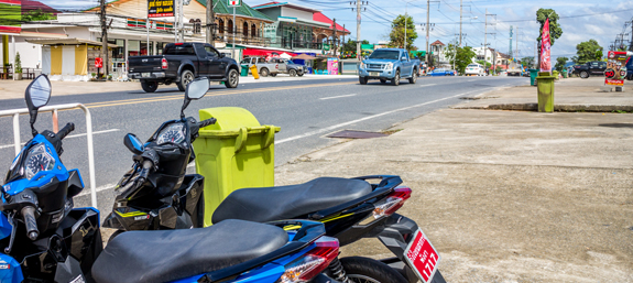 Mopeds for hire on the main strip of Khao Lak