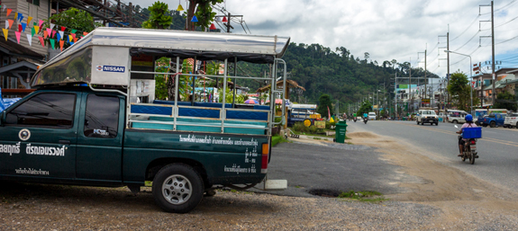Taxi service on the main strip of Khao Lak