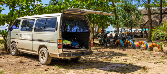 Campervan parked up outside Khao Lak Beach