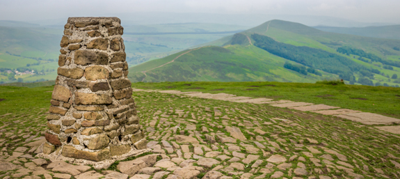 Marker stone at the peak of Mam Tor